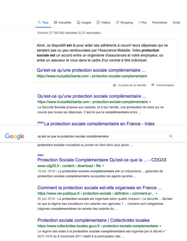1ère page de google avec position 0