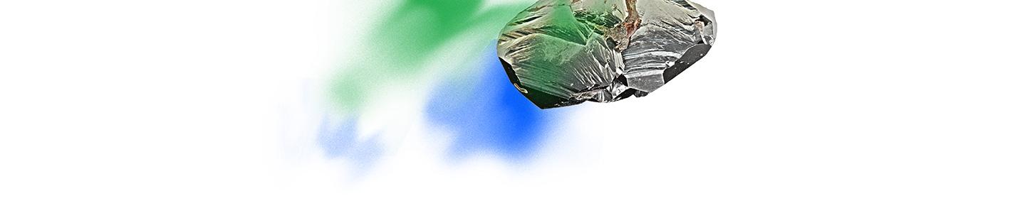 rocher dessous vert bleu