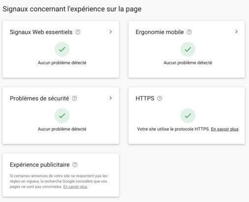 Le rapport de la Search Console concernant l'expérience sur la page